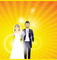 wedding couple on a colour background vector image