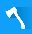 white axe with shadow on blue vector image vector image