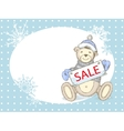 Winter Sale Card with toy bear vector image vector image