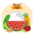world food day healthy lifestyle fresh fruits vector image vector image