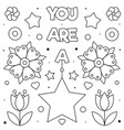 you are a star coloring page black and white vector image vector image