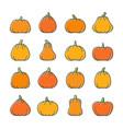 halloween pumpkin line icon set vector image
