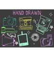 hand drawn chalk of cameras vector image