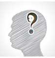 Hand drawn mans face with question mark vector image