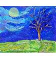 tree in a field in the moolight sketch landscape vector image