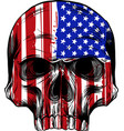 america flag painted on a skull vector image vector image