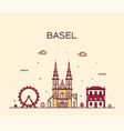 basel skyline switzerland linear style city vector image