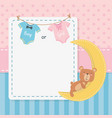 bashower card with little bear teddy and moon vector image vector image