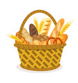 basket with wheat and fresh bread vector image
