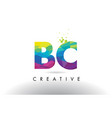 bc b c colorful letter origami triangles design vector image