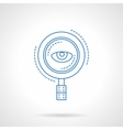 Blue flat line magnifier and eye icon vector image vector image