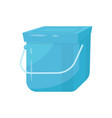 blue square plastic bucket with lid and metal vector image vector image