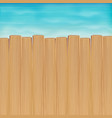 brown wood board over sea water background vector image