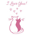 card with valentine s day concept two cats vector image