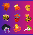 carnival italy and brazil masks celebration vector image vector image