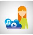 cartoon girl blonde music cloud app vector image vector image