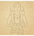 Cheerful backpacker with binoculars vector image vector image