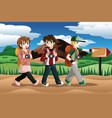 children going on an adventure vector image vector image