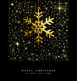 christmas greeting card gold glitter snowflake vector image