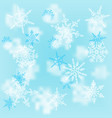 christmas white snowflakes on blur blue background vector image vector image
