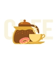 Coffee pot cup and donut vector image vector image