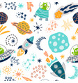 cute seamless pattern with funny aliens characters vector image
