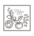 delicious italian food in drawing vector image