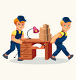 delivery team carrying desk and cartons poster vector image vector image
