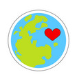 earth and heart vector image vector image