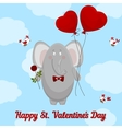 elephant wishes happy valentines day vector image vector image