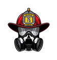 firefighter protective helmet and gas respirator vector image