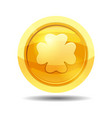 game coin with clover leaf game interface gold vector image vector image
