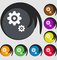 gears icon Symbols on eight colored buttons vector image vector image