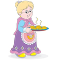 Granny with pies vector image vector image