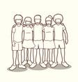 group of children hugging outline vector image