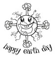 happy earth day with tree on world vector image vector image