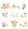 happy family bunnies set father mother and vector image vector image