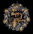 Happy new year card festive wreath fir