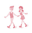 happy young couple roller skating together vector image