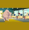 ignoring elephant in room carton concept vector image vector image