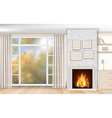 Interior with fireplace of white brick vector image vector image