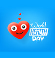 international health day cute red heart emoji vector image