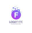 letter f bubbles logo purple template vector image