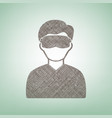 man with sleeping mask sign brown flax vector image vector image