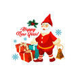 new year winter holiday santa gnome icon vector image vector image