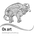 Ox black and white patterns vector image vector image