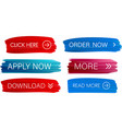 red and blue painted web buttons isolated on white vector image vector image