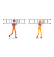 set of male and female worker with ladder wearing vector image vector image