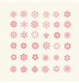 silhouettes flowers floral icon set vector image