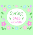 spring sale discount floral bacground text spring vector image vector image